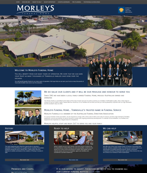 website design for townsville funeral home